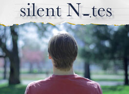 """Image Description: You see the back of the head of person. Their gender is not apparent. The person has brown hair and a fading red stone-washed shirt. The person is staring off into a park with blurred out trees that are green and red. The title is on top of the image, but it is not written in normal text. It is written in lower case for """"silent,"""" then uppercase for """"N,"""" and then some musical note meaning no sound, then """"tes."""" Silen Notes."""